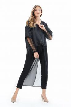 جاكيت أسود ذو تصميم أكمام تول