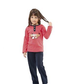 بدلة بيجامة للاطفال بناتي - لون مرجاني  HMD YUPPİ