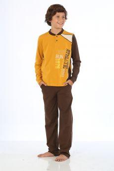 بدلة رياضة للاولاد - لون اصفر خردلي  HMD YUPPİ