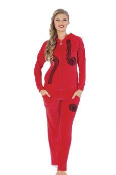 طقم رياضة مخملي للنساء - لون احمر HMD