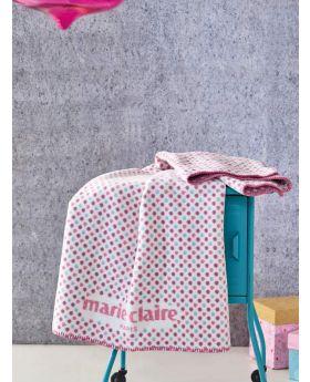 بطانية طفل 60% قطن - 33% أكرليك - 7% بوليستر 100×120سم ورديّة اللون ماري كلير أركاس MARIE CLAIRE ARKAS