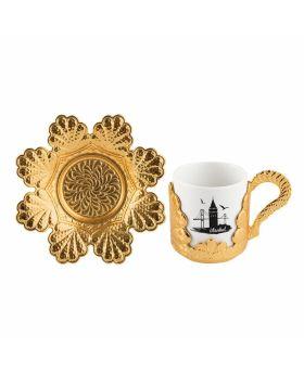 GALATA فناجين القهوة التركية الذهبية برسمات برج