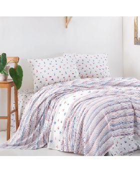 "طقم غطاء سرير قطني منقوش متعدد الألوان قطن 100% ماري كلير هنريMARIE CLAIRE HENRY  مزدوج "" ثنائي"""