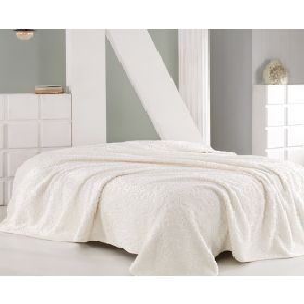 بطانية بوليستر كريميّة  اللون حجم كبير 220×240سم  ماري كلير لوسي MARIE CLAIRE LUCIE