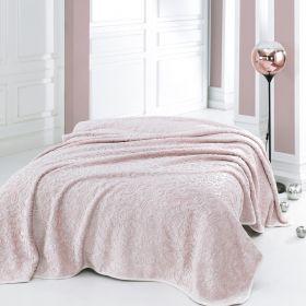 بطانية بوليستر لون وردي فاتح  حجم كبير 220×240سم  ماري كلير لوسي MARIE CLAIRE LUCIE