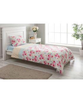 """طقم غطاء سرير مفرد """" شخص واحد """" لون وردي 160x220 سم"""