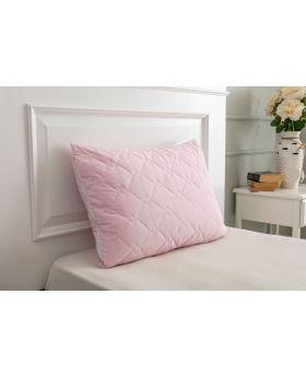 غطاء وسادة مبطن بالرانفورس لون وردي 50x70 سم
