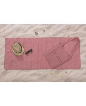 مجموعة الشاطئ (فِراش رقيق للشاطئ :65x150 سم-حقيبة) لون وردي فاتح
