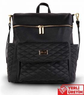 حقيبة  ظهر بيبي  للأم باللون الأسود من الجلدMY Collection