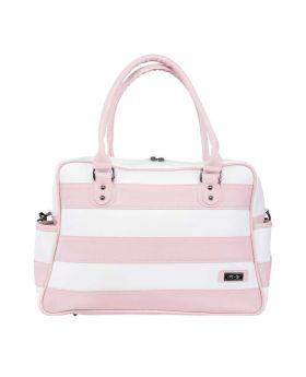 حقيبة العناية بالطفل باللون الزهري من الجلد مخططةMY Collection