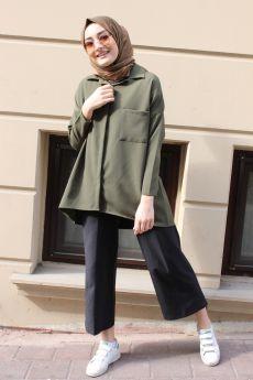 قميص محجبات ذو جيب - لون أخضر خاكي