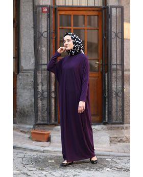 فستان للمحجبات ذو أكمام خفاشية الشكل لون بنفسجي