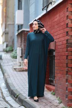 فستان للمحجبات ذو أكمام خفاشية الشكل لون زمردي