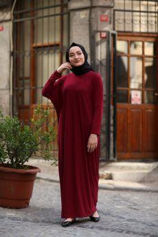 فستان للمحجبات ذو أكمام خفاشية الشكل لون خمري