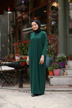 فستان للمحجبات ذو أكمام خفاشية الشكل لون  أخضر