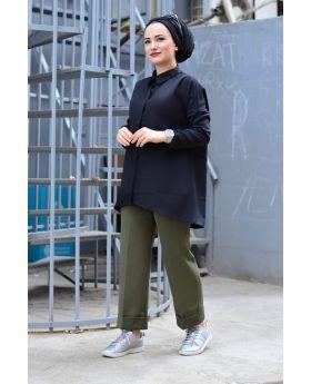 قميص محجبات ذو جيب - لون أسود