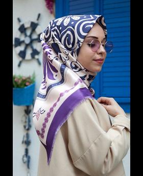 حجاب رأس ذو تصميم مميز - لون بنفسجي