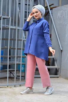 قميص محجبات ذو جيب - لون أزرق نيلي