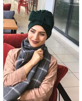 بونيه حجاب رأس شكل فيونكة - لون أخضر خاكي