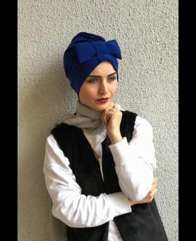بونيه حجاب رأس شكل فيونكة - لون أزرق غامق