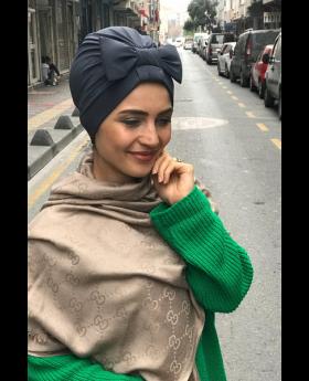 بونيه حجاب رأس شكل فيونكة - لون فحمي