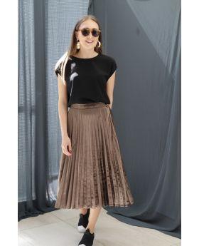 ملابس صبايا تنورة أنيقة ذات ثنيات مخمل لون بني