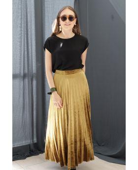 تنورة ذات ثنيات مخمل لون أصفر خردلي