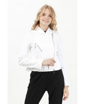 جاكيت جينز أبيض قصير