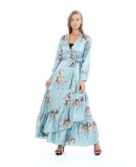 فستان نسائي لون أخضر بتصميم أزهار