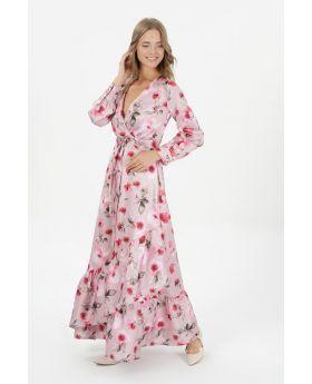 فستان نسائي لون وردي بتصميم أزهار