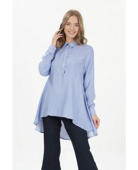 قميص لون أزرق مزركش