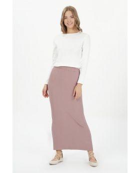 تنورة مخططة بتصميم مميز لون وردي