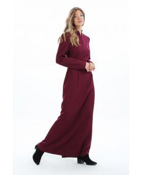 فستان مميز ذو ياقة لون خمري