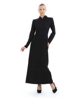 فستان مميز ذو ياقة لون أسود