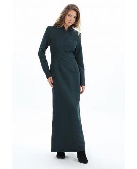 فستان مميز ذو ياقة لون بترولي