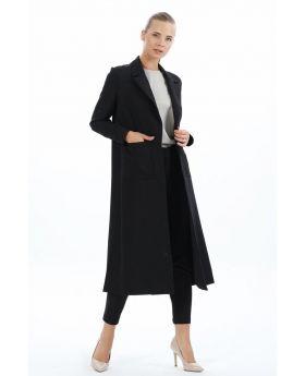 جاكيت ذو جيوب جانبية لون أسود