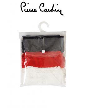 مجموعة سراويل شورت نسائية  عدد 3  من الدانتيل  - اللون الأبيض والأسود والأحمر Pierre Cardin