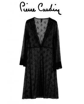 لانجري {صبحلك } مزين بالدانتيل - اللون الأسود  Pierre Cardin