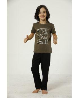 بدلة بيجامة للاطفال ولادي - لون أخضر خاكي  HMD YUPPİ