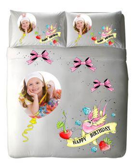 طقم غطاء سرير بطبعة عيد الميلاد Happy Birthday ماركة TAC