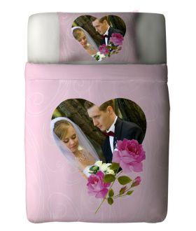 طقم غطاء السرير ذو طبعة عروسين بمناسبة ذكرى الزواج Romantic Rose ماركة TAC