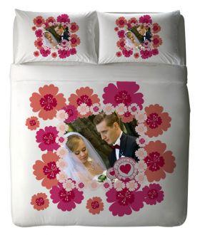 طقم غطاء سرير ذو طبعة عروسين بمناسبة ذكرى الزواج I Love You Stamp  ماركة TAC