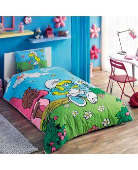 """مجموعة غطاء سرير ذو طبعة سنافر قياس مفرد """" شخص واحد """" TAC"""