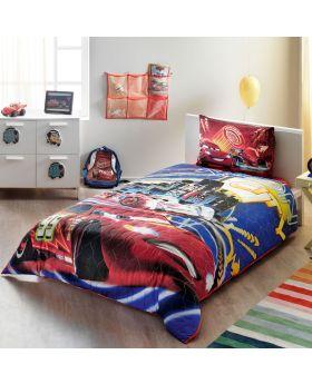 """طقم غطاء سرير مفرد """" شخص واحد """" بطبعة سيارات ديزني ماركة TAC"""