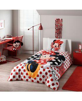 طقم غطاء سرير قياس مفرد بطبعة ميني ماوس ديزني ماركة TAC