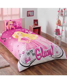 """مجموعة غطاء سرير قياس مفرد """" شخص واحد """" بطبعة باربي ماركة TAC"""