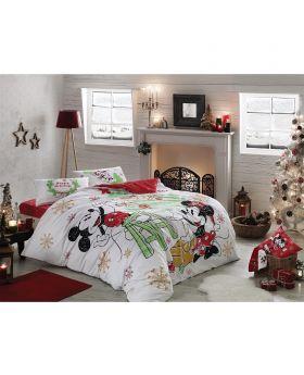 طقم بياضات سرير مزدوج Minnie&Mickey -لون أحمر Tac