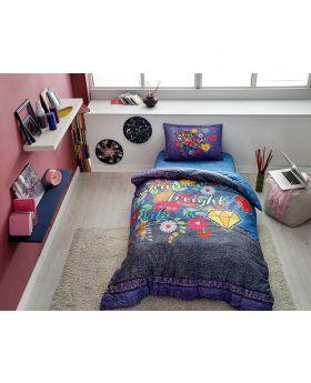 طقم بياضات سرير مفرد Shine -لون كحلي Tac