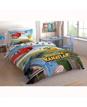 """طقم غطاء سرير بطبعة شخصيات الفلم الكرتوني Harika Kanatlar قياس مفرد """" شخص واحد """" ماركة TAC"""
