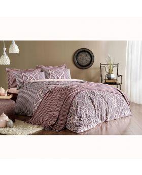 طقم بياضات سرير و غطاء سرير Evana مزدوج -لون خمري Tac